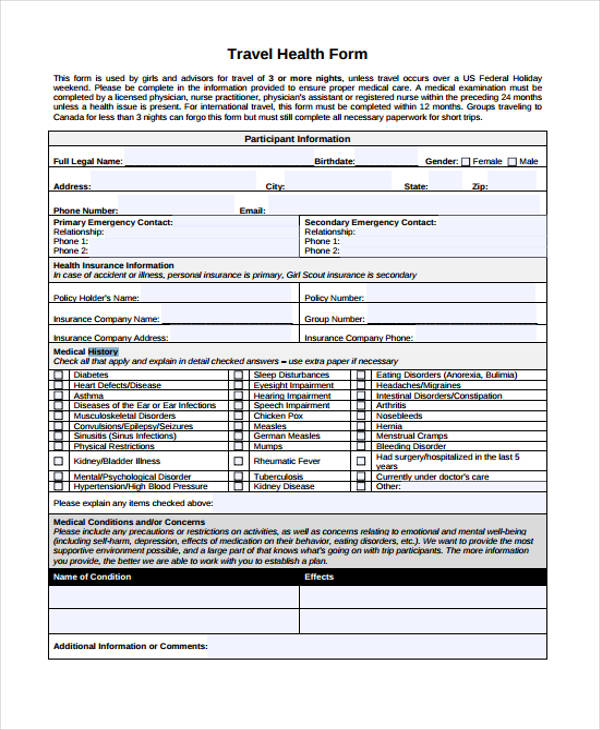 travel health history form1