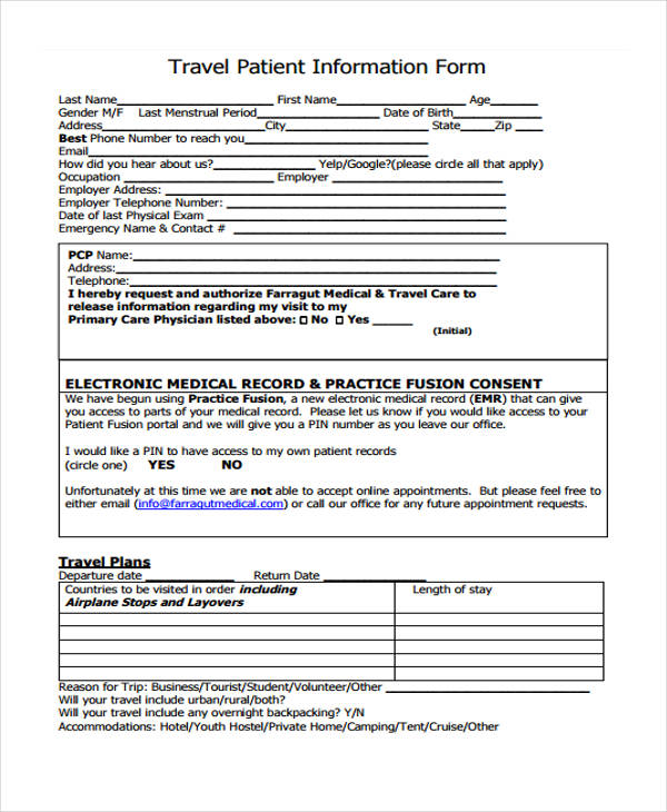 travel history information form1