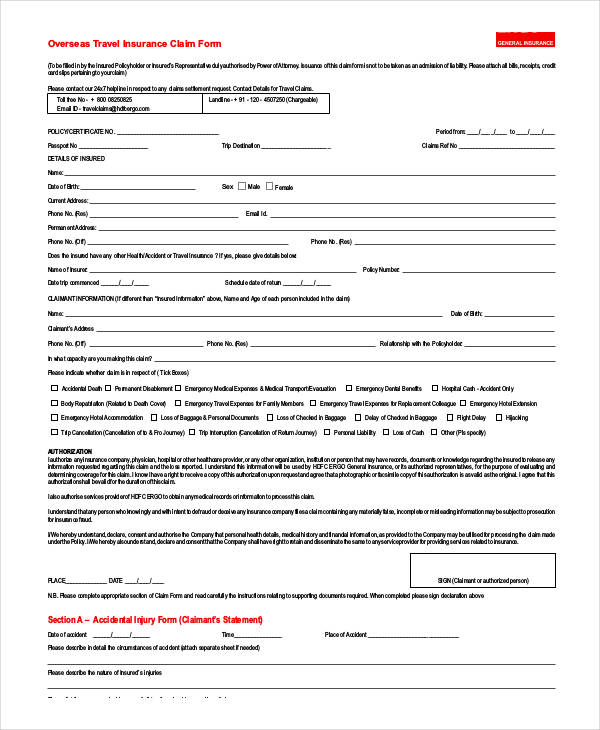 travel insurance claim form1