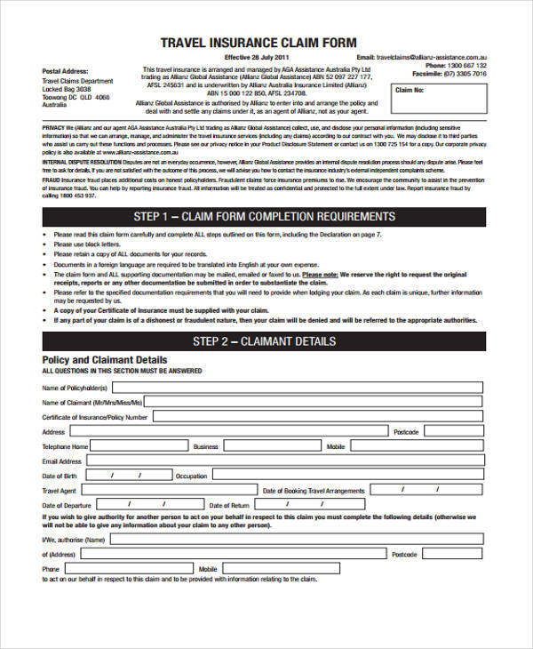 travel insurance form example1