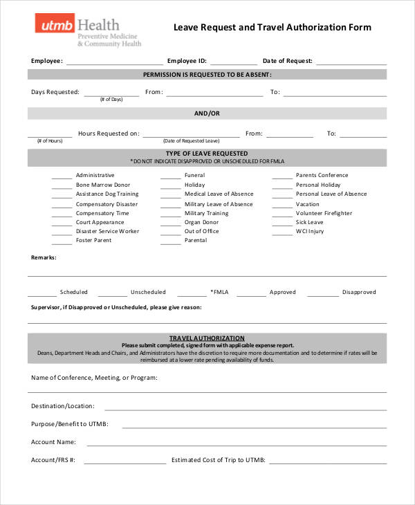 travel leave authorization form