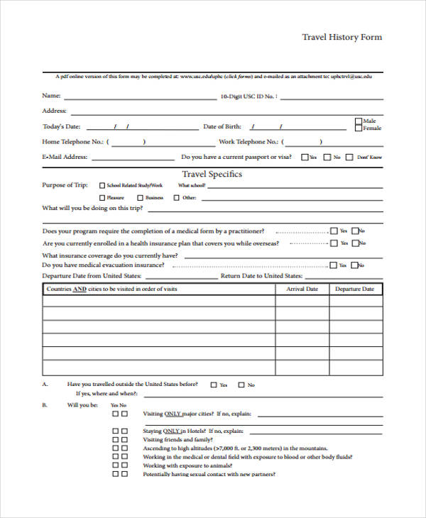 travel medical history form1