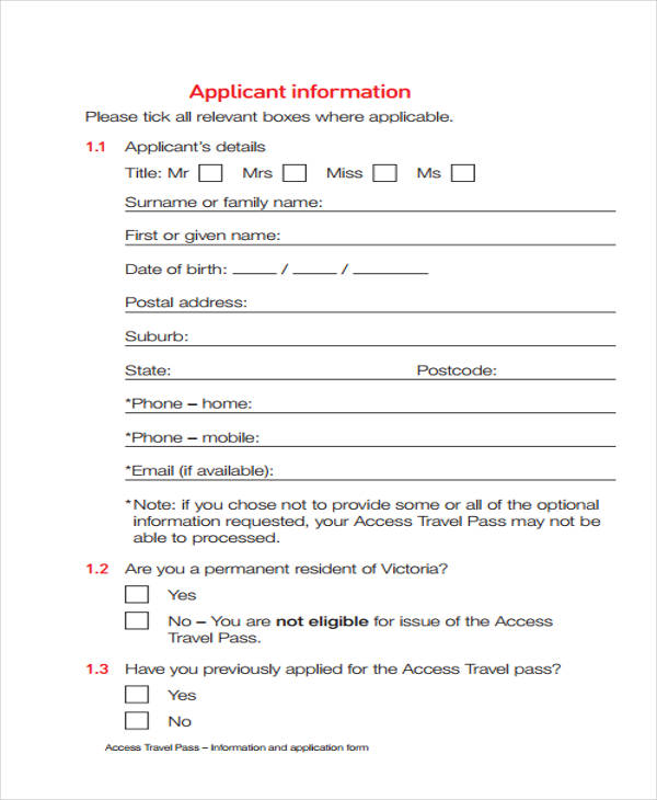 travel pass application form1