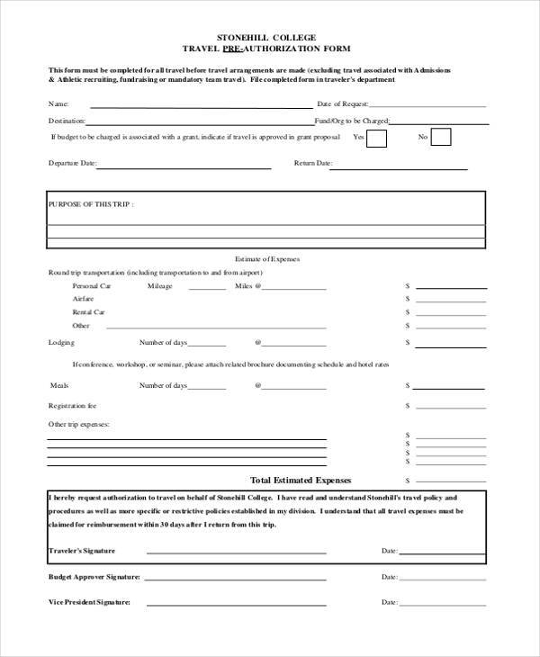 travel pre authorization form