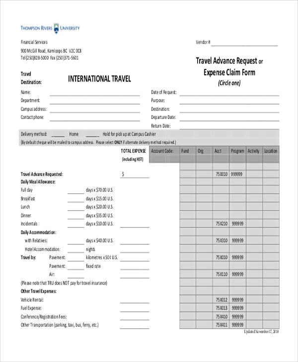 travel request expense claim form