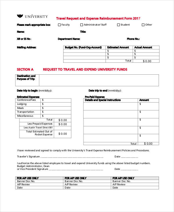 travel request expense reimbursement form