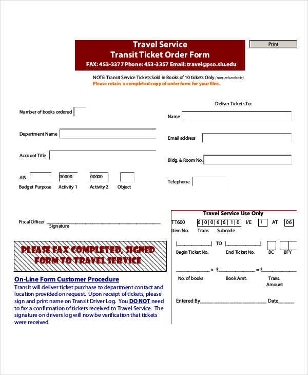 travel service ticket order form
