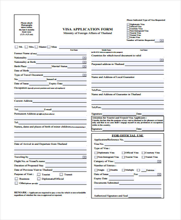 travel visa application form