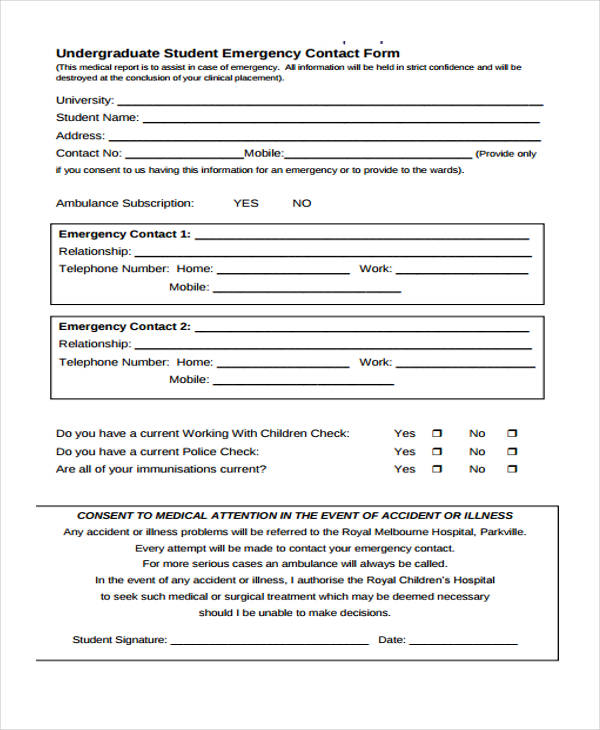 work emergency contact form