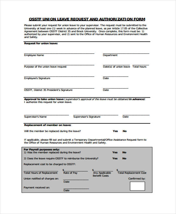 Doc616444 Request for Leave Form Template Leave Request Form – Example of Leave Form