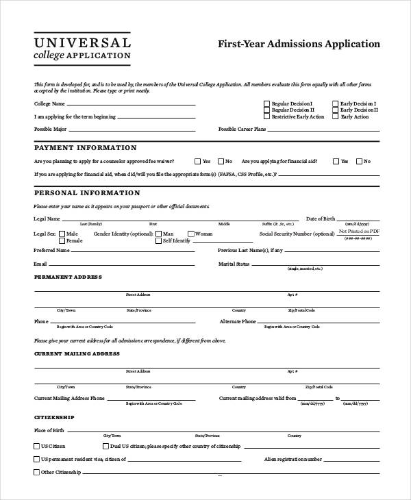 Sample College Application Form  Documents In Word Pdf