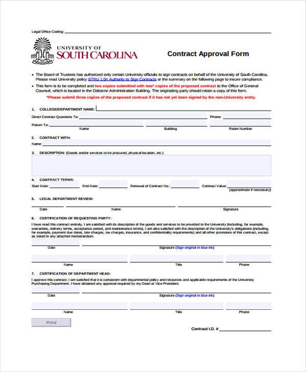 university of south caroline contract approval form