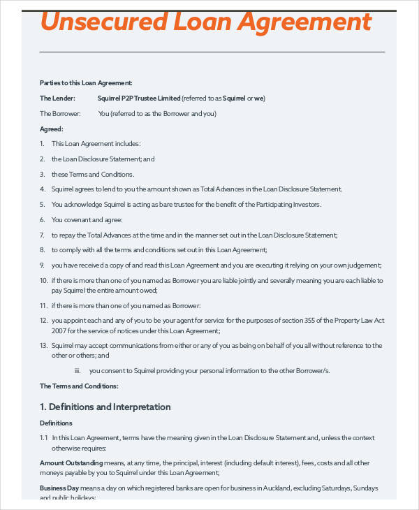 unsecured loan agreement pdf format
