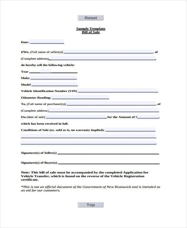 Bill Of Sale Forms In Pdf