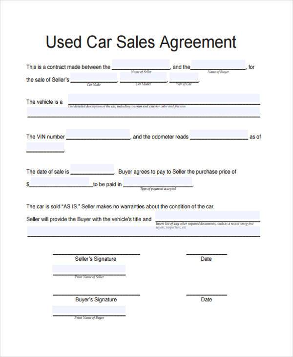 Used Car Sales Agreement Form  Private Car Sale Contract Payments