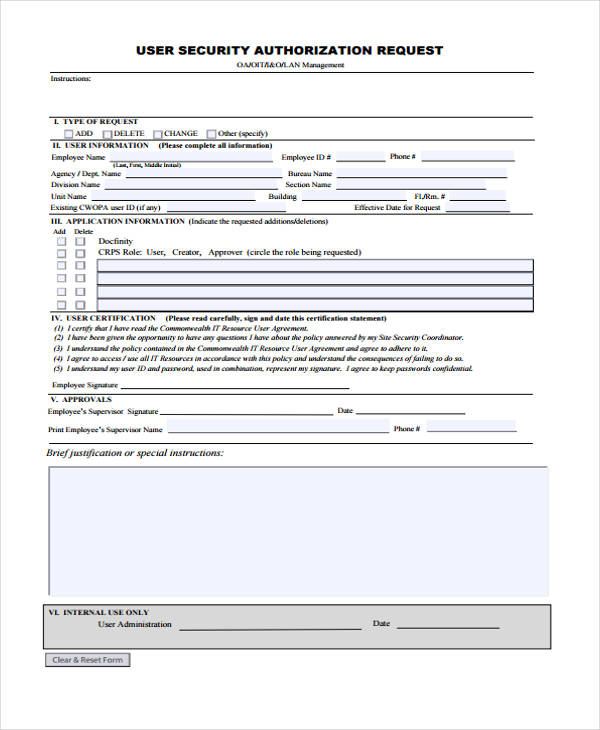 user security authorization request form