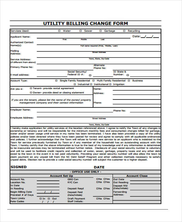 utility billing change form