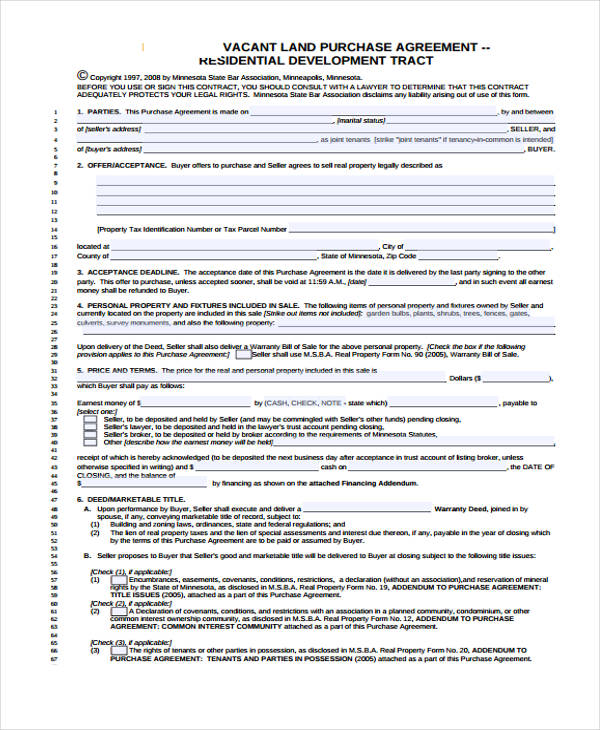 vacant land purchase agreement form1