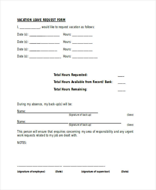 Job Request Form. Vacation Leave Request Form Request Forms In