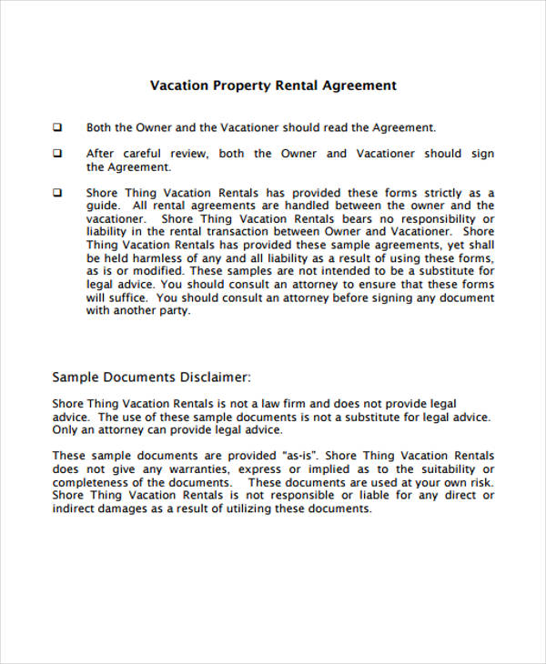 vacation property rental agreement form