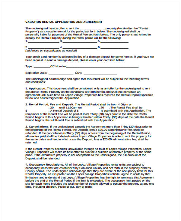vacation rental application agreement form