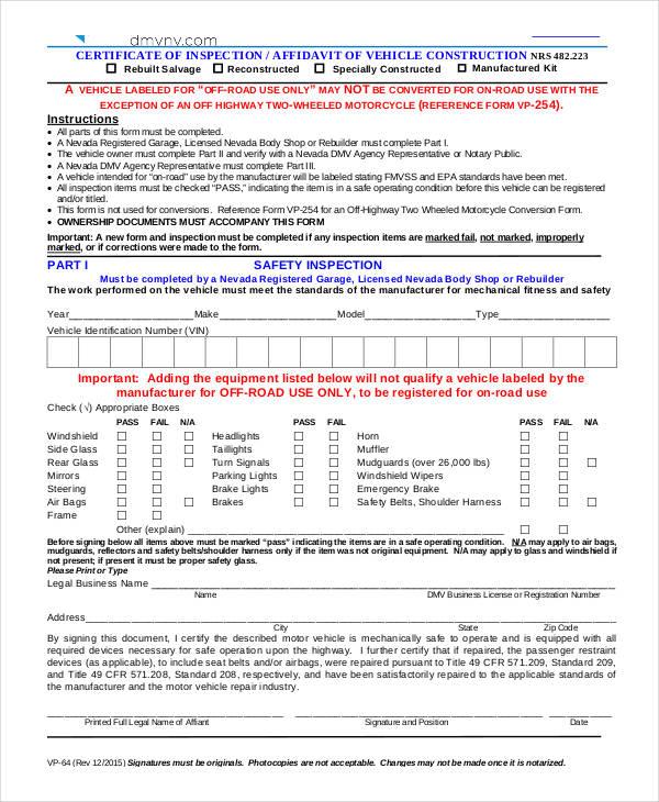 10+ Vehicle Affidavit Form Sample - Free Sample, Example Format ...