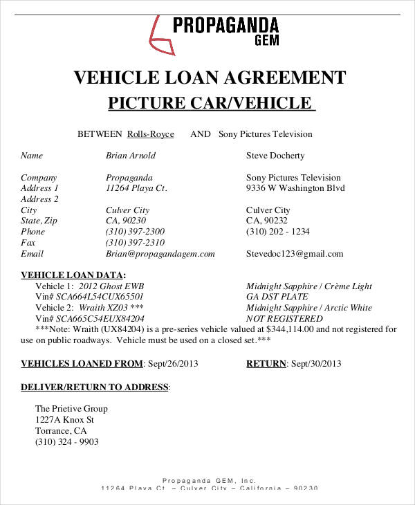 vehicle car loan agreement