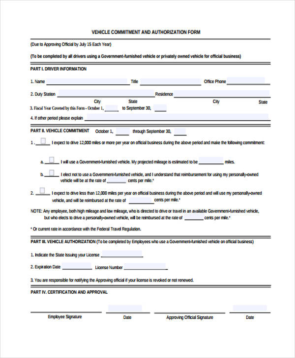 vehicle commitment authorization form