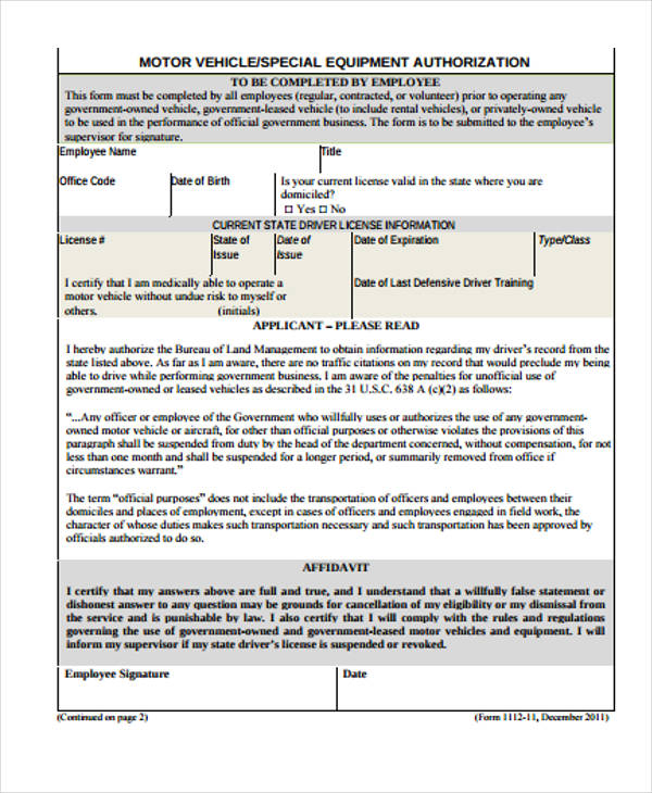 vehicle equipment authorization form1