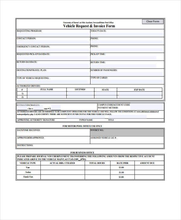 vehicle invoice form