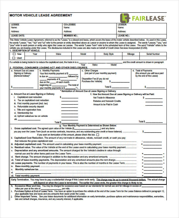 vehicle lease purchase agreement form format