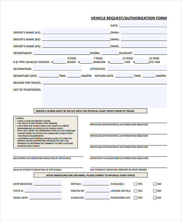 vehicle loan authorization form