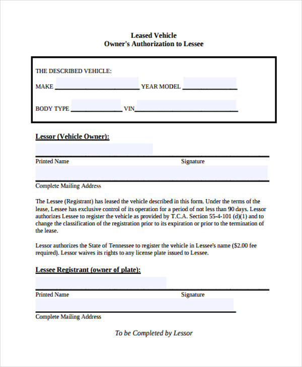 vehicle owners authorization form
