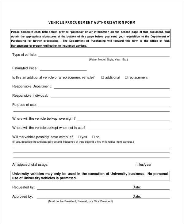 vehicle procurement authorization form