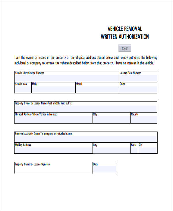 vehicle removalauthorization form
