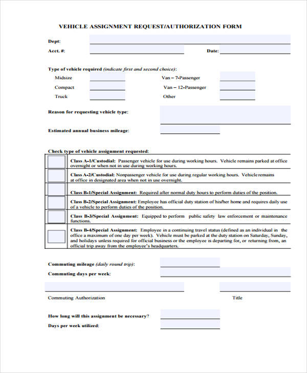 vehicle request authorization form
