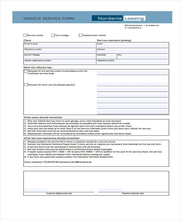vehicle service form sample