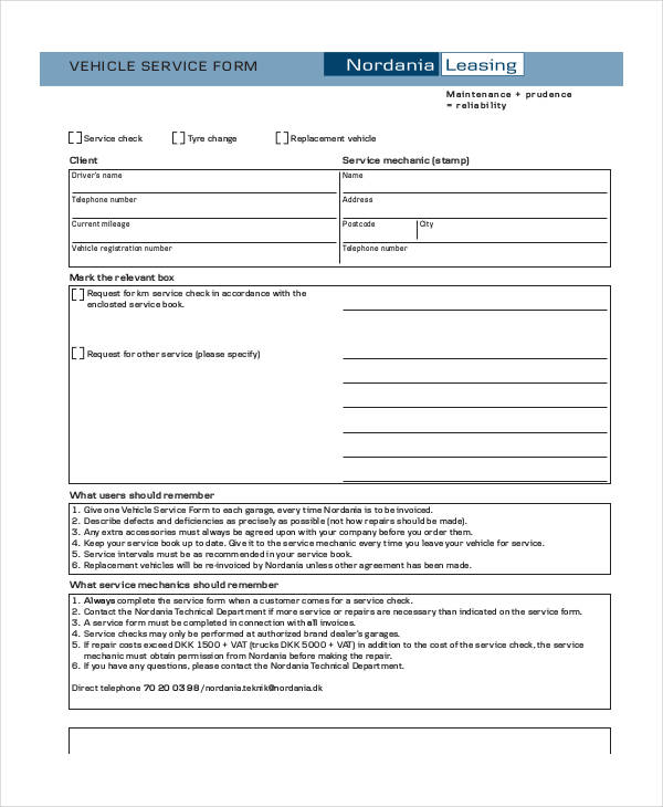 vehicle service form template