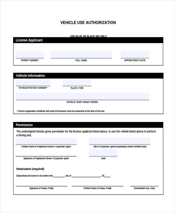 vehicle use authorization form example