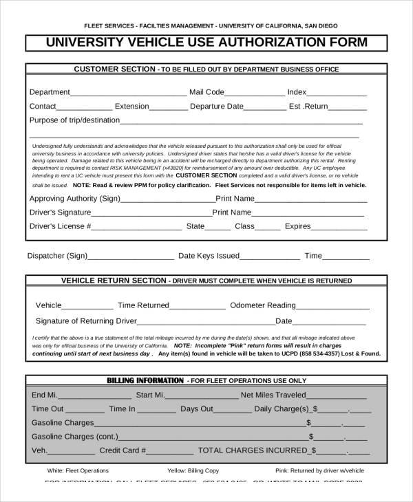 vehicle use authorization form