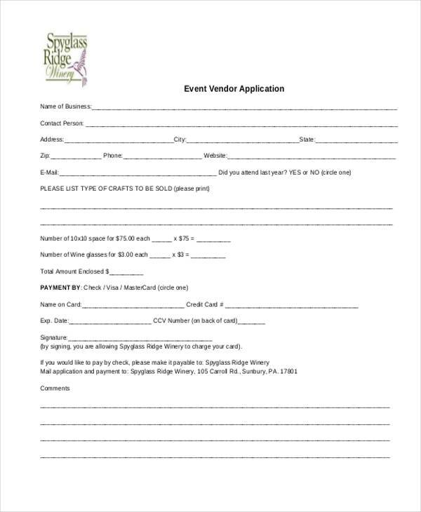 vendor application event form