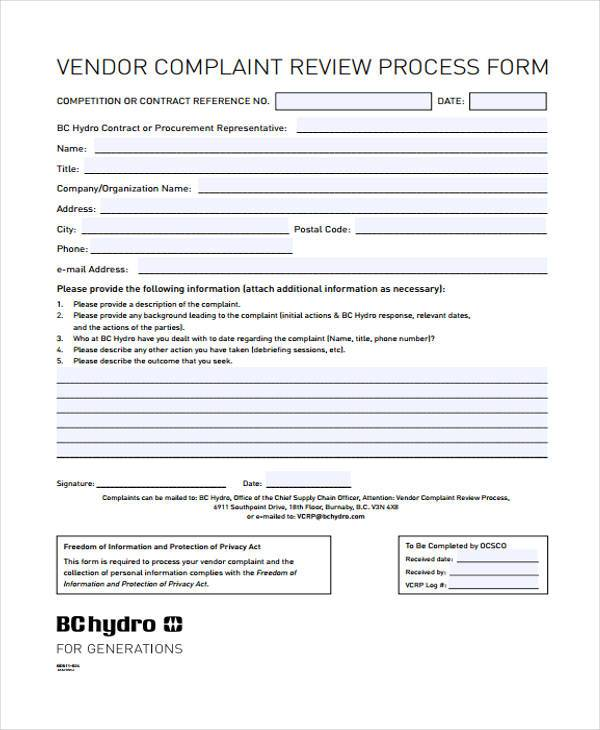 vendor complaint review form