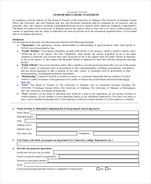 vendor disclosure statement form