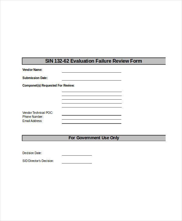 vendor failure review form