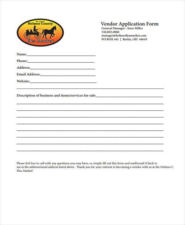 vendor number application form