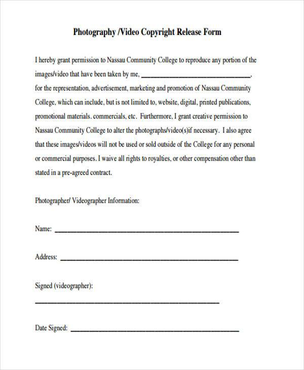 Photo copyright release forms for Photographer copyright release form template