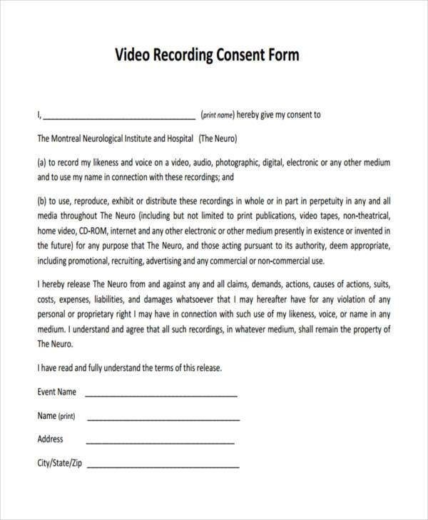 video recording consent form