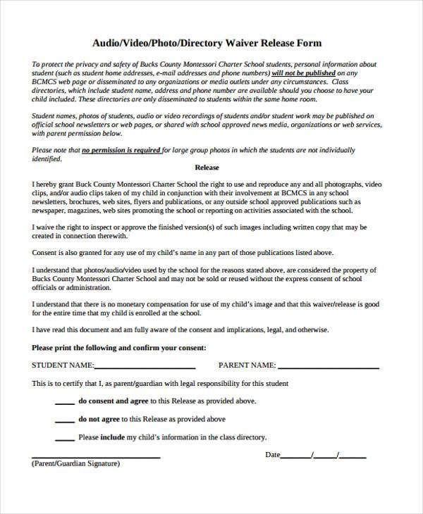 video waiver release form template