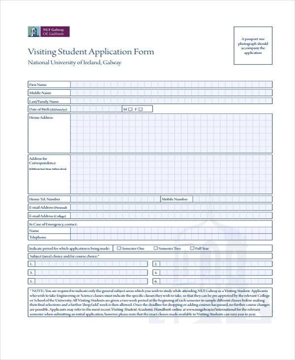 visiting student application form
