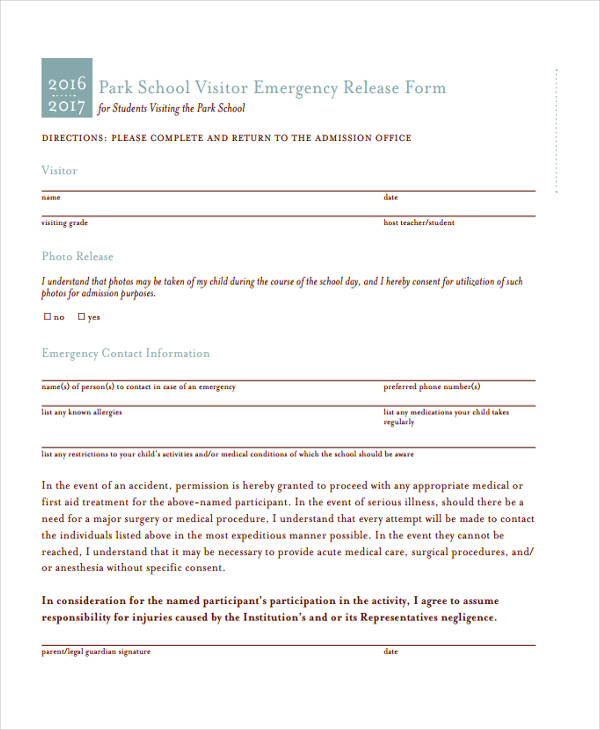 visitor emergency release form in pdf